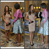 A-Line Ruffle Satin Kate Middleton Short Dress for Meeting With President Obama Celebrity Dresses Evening Dresses AM121