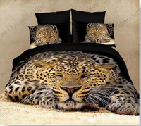Adult leopard print bedding - 3D visual bedding set cotton leopard Tiger panda Horse oil printed unique animal bedlinen for queen Full size bed sheet linens MYY6978