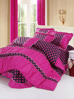 Wholesale Comfy Fuchsia Polka Dot Piece Cotton Bedding Set u10 ury
