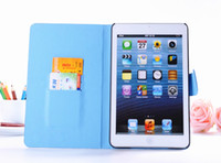 Wholesale Diamond Stand Leather Book Wallet Case for ipad mini with card holder magic leather stand