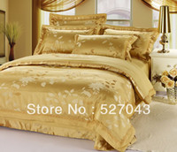 Twill Silk / Cotton Cotton FREE SHIPPING Luxury embroidered satin cotton silk queen KING SIZE bedding set quilt sheets comforter set