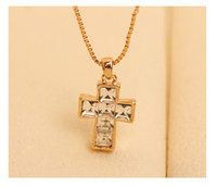 Wholesale 5pcs K Gold Plated Necklace Crystal Zircon Dangle Cross Pendant Chain Party Jewelry GAZ3