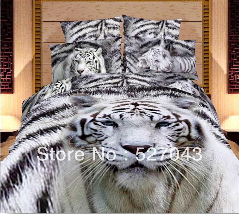 White Tiger Animal 3d Oil Painting Print Bedding Sets Comforter Sets Bed Sets Duvet Covers