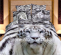 Adult Twill 100% Cotton White Tiger Animal 3D Oil Painting Print Bedding Sets Comforter sets Bed sets Duvet Covers bedspreads Full Queen Size,PDN-15