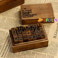 Wholesale Children s stationery c31 New letter and number wood stamp set DIY stamp wood Box gift stamp Wholesaledandys