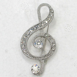 12pcs lot Wholesale Clear Crystal Rhinestone Music Note Pin Brooch Fashion Costume brooches jewelry gift C917