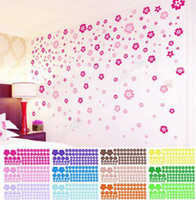 Wholesale 50 set wall sticker Flowers Removable Flower Mural Wall Art Stickers Decals Home Decor