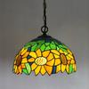 Tiffany Sun Flower Glass Pendant Lamp European Mediterranean Idyllic Style Chandelier Bar Coffee Shop Light Dia 30cm H 95cm