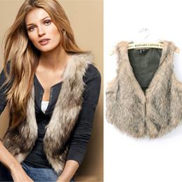 Wholesale European Fashion Faux Fur Woman Vest Coat V Neck Sleeveless Short Jacket Tank Tops Autumn Plus Size Outwear CJD08