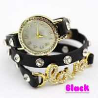 Wholesale Hot Cow Leather Watches Women High Quality ROMA Watch K Gold Plated Crystal LOVE Bracelet Watches W010