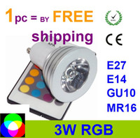 85-265V rgb led price - promotion price W RGB spotlight LED bulb Color RGB Aluminum LED Light Lamp Bulb V Remote Control E27 GU10 MR16 E14