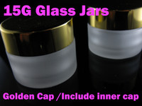 cosmetic bottle - 15g Golden cap Glass jars for cosmetic cream refillable bottle Transparent Small Empty Bottle