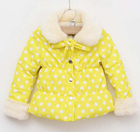 Without Hood Girl Winter Winter Jackets Child Clothes Kids Cotton Jackets Children Clothing Baby Wear Cute Polka Dot Coat Fashion Princess Jacket Girls Casual Coat