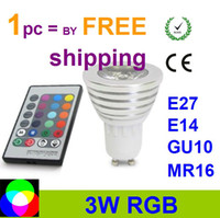 Wholesale LED ceiling W RGB spotlight LED bulb Color RGB Aluminum LED Light Lamp Bulb V Remote Control E27 GU10 MR16 E14 LED