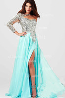 Reference Images long sleeve evening dresses - 2015 Prom Dresses One Shoulder Sheer Tulles Sequins Rhinestone Chiffon Pleats Slit Backless Long Sleeves Evening Dresses M