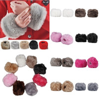 Wholesale Brand New Winter Women Imitation Rabbit Fur Wrist Sleeve Warm Plush Can Be Used Sleeve Ornament Cuff Wristband Oversleeve Gloves DLR
