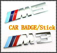 bmw m3 badges - Retail Packag CAR BADGE silver M3 M5 adhesive logo Cars Decoration Stickers For BMW Sticker Metal D Car Sticker DHL
