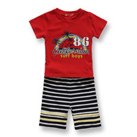Boy Summer Short Fashion Kids Clothes 2 PCS Boys Sets Red T Shirt Beach Style Round Neck Short Sleeves Striped Pants Cool Baby Boys Clothes Cheap 8220