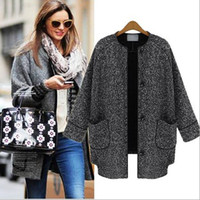 Wholesale New Arrival Winter Women s O Neck Long Sleeves Front Pockets Cardigan Street Style Fashion Sweaters