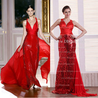 Floor-Length Sheath/Column Criss Cross Straps Inspired By Zuhair Murad Red Sequin Pageant Dresses With Deep V Neckline Crisscross Straps Dhyz 01 (buy one get one free necklace)