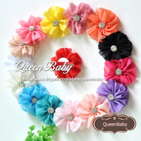 Headbands Blending Floral Trial Order Chiffon Flowers Solid Ballerina Blossom Scalloped Flowers with Spark Rhinestone Buttons Center Hair Clip 30PCS lot