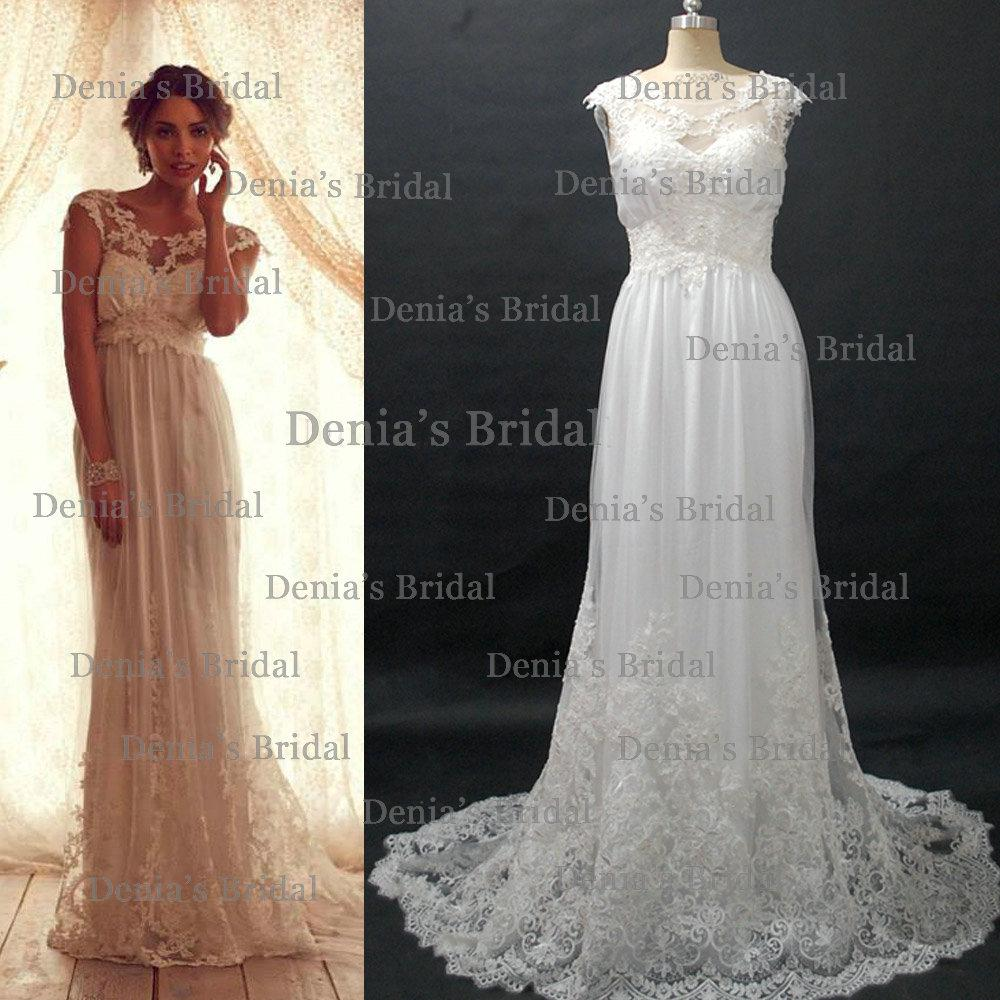 2013 vintage anna campbell wedding dresses with sheer cap for Anna campbell vintage wedding dress