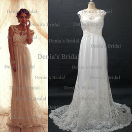 Wholesale 2013 Vintage Anna Campbell Wedding Dresses With Sheer Cap Sleeves Transparent Neckline and Lace Sweep Train Buy Get Free Tiara