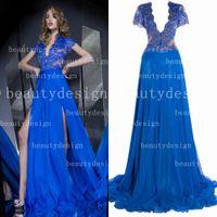 Reference Images split shorts - 2014 Royal Blue A Line V Neck Short Sleeves Zipper Back Floor Length Split Lace Evening Dresses BO3023 get one free bracelet
