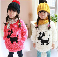 Wholesale girls fleece hoodie children pullover kids woollen sweater long sleeve tops winter clothing colors dkagmy
