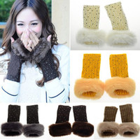 Wholesale Lady Gloves Women Winter Arm Warmer Faux Fur Wool Fingerless Long Gloves Colors Pairs CW20003