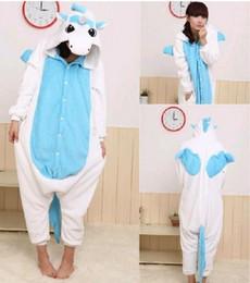 Wholesale Funny Blue Unicorn Kigurumi Pajamas Animal Cosplay Costume unisex Adult Onesie Dress Or Sleepping Home Dress