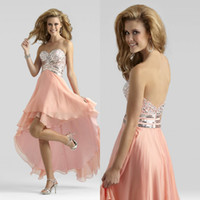 Wholesale 2014 New Sweetheart Crystal Beaded Short Front Long Back Graduation Dress Girl s Party Dress