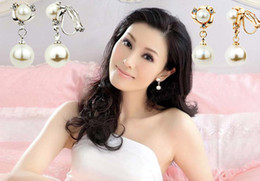 pearl crystal Clip-on earring for women , gift gold plated Dangle earrings ,new 2013 style rose   silver color