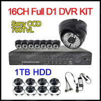 Wholesale CCTV Home Security DVR System CH Full D1 Cloud DVR With HDMI TB HDD SONY CCD TVL Weatherproof Dome Camera IR LED