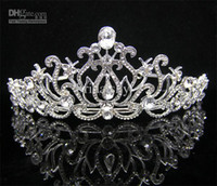 Crown Silk Flower  Wholesale - Wedding Bridal crystal veil tiara crown headband
