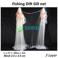 Wholesale Three layers Catching fish net Monofilament mesh hole x3 cm x6 cm well dift gillnet gill net Length meter High meter