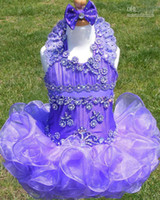 Wholesale With Gift Little Girls Kids Cupcake Pageant Dresses Purple Organza Beaded And Applique Mini Dresses Custom Made ebelz