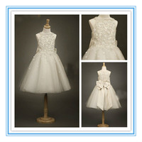 Wholesale 2014 New Arrival Knee Length Flower Girls Dresses Formal Gown With A Line Lace Sleeveless Jewel Bow Appliques Sequins Ankle Length