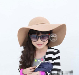 Fashion Bowknot Princess Hats Brimmed Hat Sun Hat Wool Cap Bucket Hat Baby Sunbonnet Kids Top Hat Girls Topee Fedora Hat Children Caps Hat