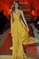 Chiffon Floor-Length A-Line 2014 Hot Sale Zuhair Murad Cool Evening Dresses Yellow Chiffon Prom Dress Floor Length Plus Size One Shoulder Lady Dress