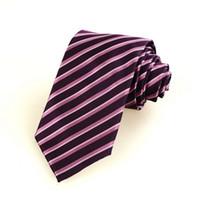 La nueva corbata D25 del lazo de los hombres de seda tejidos JACQUARD rosados púrpuras rayados