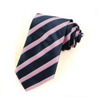 Compra Lazos de color rosa-Corbata D30 del lazo de los nuevos hombres rayados azules rayados JACQUARD de seda