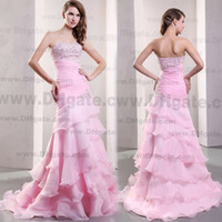 pink mermaid prom dresses - Real Pink Mermaid Prom Dresses with Tiered Ruffles Floor Length Organza Evening Dresses