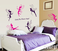 Wholesale 6 Flower Angel Fairy Cute Art Wall Stickers Decal Room Kids Girl Nursery Decor