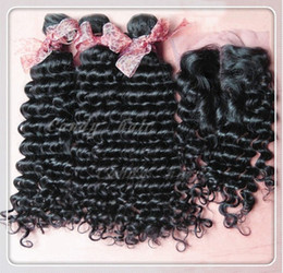 Wholesale 1 Piece Lace Top Closure with Hair Bundle Brazilian Virgin Hair Extension Virgin deep Curly Hair quot quot by DHL
