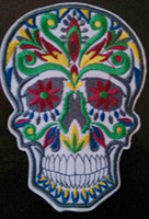 Patches   Free Shipping Green Blue Skull tattoo biker vest iron on patch horror goth punk emo rock retro applique wholesale dropship 10cm x 7.2cm