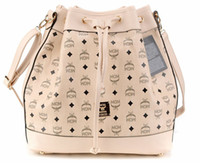 Wholesale 2013 ladies fashion shopping bag MCM Drawstring handbags Off White bucket bag large capacity Boston bags with soft PU leather low price sale