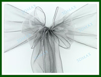 Wholesale 23 Color Hot Sale Wedding Sheer Organza Chair Cover Sashes Bow Wholesalers Price Ribbon Sash DHL FedEx EMS