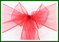 Wholesale 21 Color Hot sale Wedding Organza Chair Cover Sashes Bow Good Price