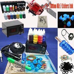Wholesale Red Rotary Tattoo Machine Digital Power Supply Inks Pigment Tattoo Kit Tube Grips Tips Tool